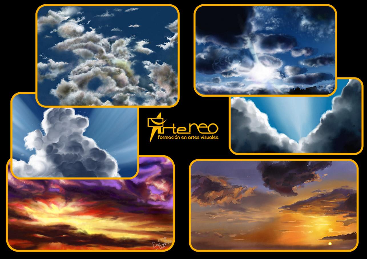 En clase de Pintura Digital con cielos y nubes